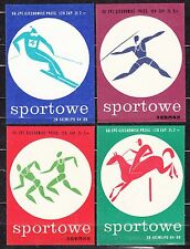 POLAND 1966 Matchbox Label - Cat.G#136/39 set - Matches Sports.
