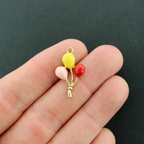 E696 4 Balloons Charms Gold Tone and Enamel Bright and Fun