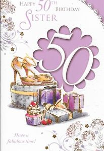 A6 50TH SISTER BIRTHDAY CARD,**SHOES** XPRESS YOURSELF,CELEBRITY STYLE*9X6 INCH