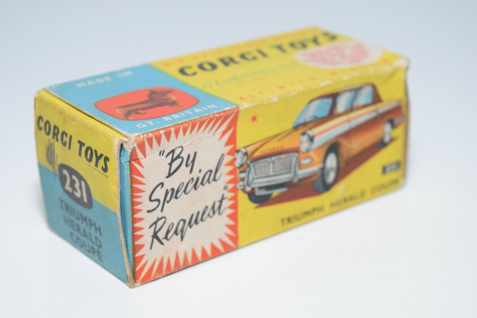 CORGI TOYS 231 TRIUMPH HERALD COUPE ORIGINAL EMPTY BOX EXCELLENT CONDITION