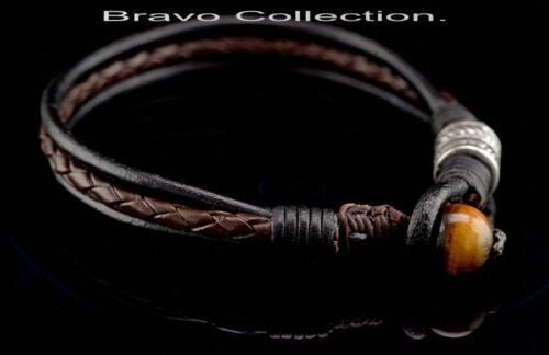 HANDMADE Sterling Silver Leather Tiger/'s Eye Feather Men Bracelet 5B-201