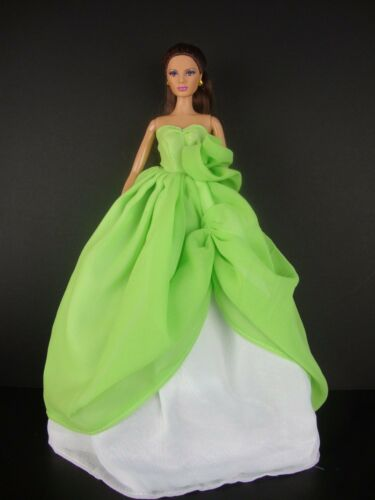 Stunning Two Tone Gown in Lime Green and White Made to Fit Barbie Doll