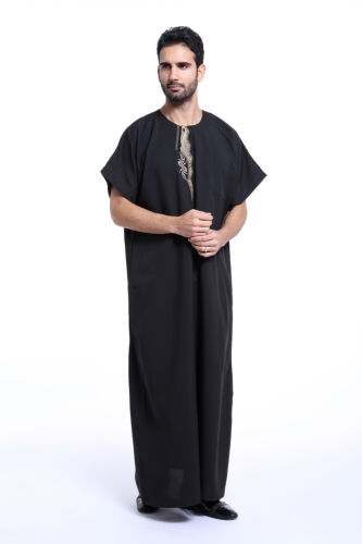 Homme Dubai Saoudite Thobe Robe Islamique Muslim Jubba Arabic Caftan Abaya JELBAB Robe