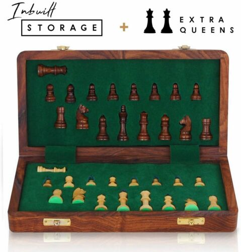 """Premium Quality Rosewood Staunton Chess Game 12/"""" Wooden Chess Board"""