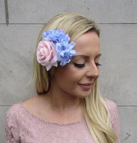 Blush Rose pâle Lumière Bleu Lilas Rose Hortensia Fleur Pince à cheveux bibi 6052
