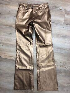 Eye-Candy-Womens-Jrs-Gold-Bronze-Metallic-Boot-Cut-Faux-Leather-Pants-Sz-5-CLUB