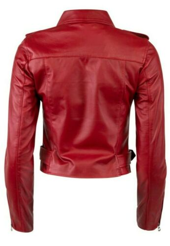 Women Ladies UK Real Pure Genuine Leather Racing Style Moto Biker Jacket Red