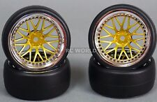 RC Car 1/10 DRIFT WHEELS TIRES Package 9MM Offset GOLD w/ CHROME LIP  *SET OF 4*