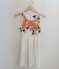 Women's Forever 21 White Floral Summer Sun Dress Size 4 Small Medium