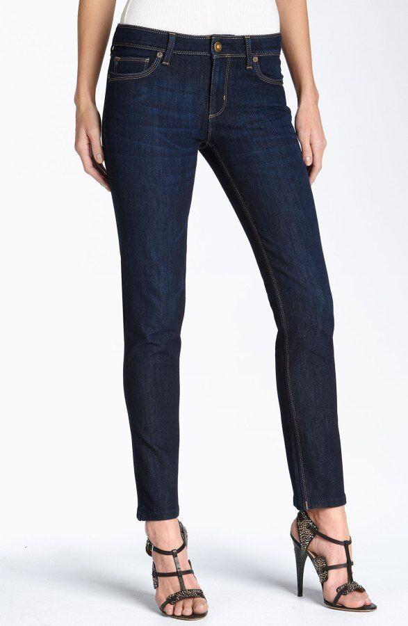 DL1961 Angel Mid Rise Slim Fit Skinny Ankle Jean in Mariner, Dark Wash - Size 28