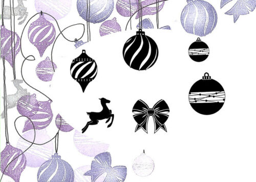 CARD-IO MAJESTIX Clear Peg Stamps ELEGANT BAUBLES MAEL-01 6 Stamps