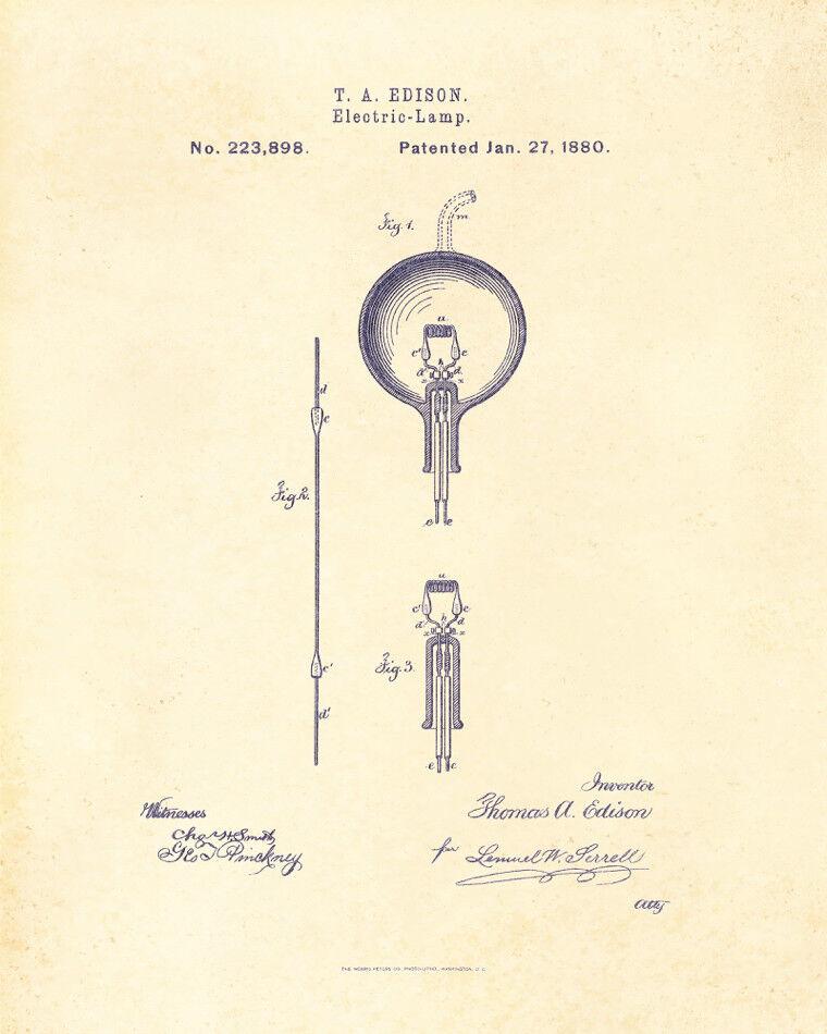 Decoration POSTER print.Vintage Patent.Edison lamp bulb.Room interior wall.6744
