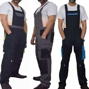 Bib-and-Brace-Overalls-Heavy-Duty-Work-Trousers-Dungarees-Knee-Pad-Pockets-UK