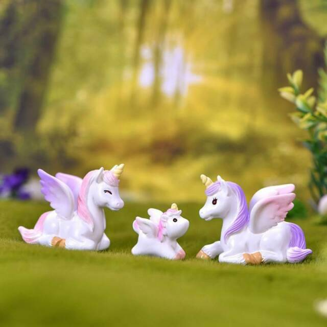 Cute Unicorn Miniature Figurine Fairy Garden Dollhouse Decor Micro Landscape Pip