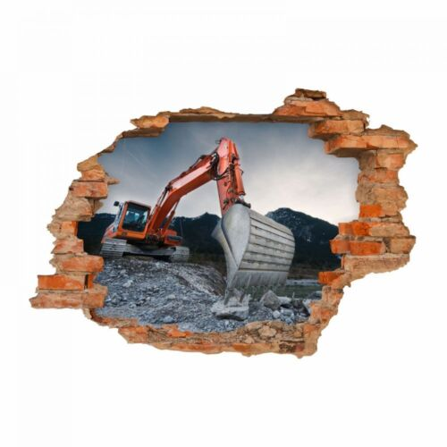 Nikima 050 mural Excavateurs II trou dans le mur orange gris chambre enfant garçon