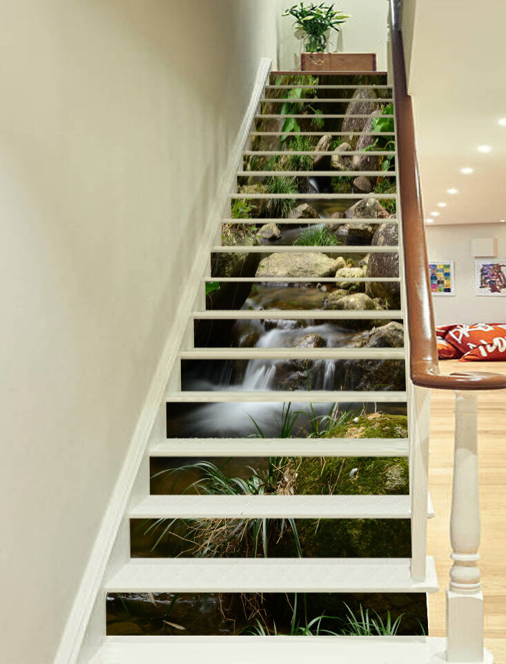 3D Wald Stein 2349 Stair Risers Dekoration Fototapete Vinyl Aufkleber Tapete DE