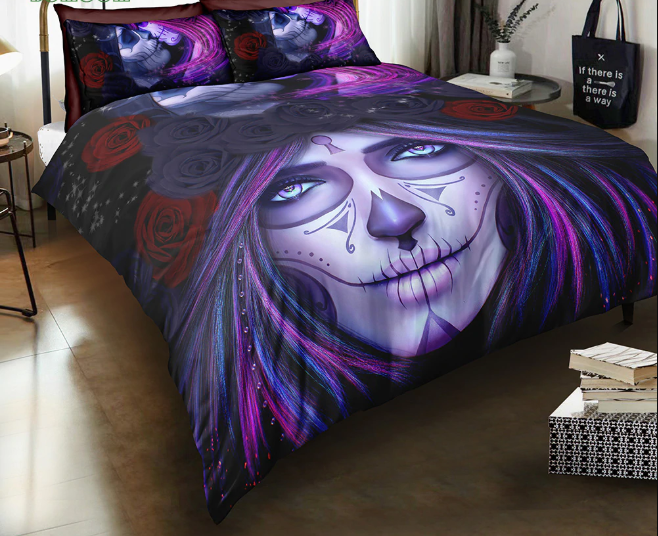 BEDDING SET Day Of The Dead Face Girl Art Duvet Cover Set 100% Microfiber new