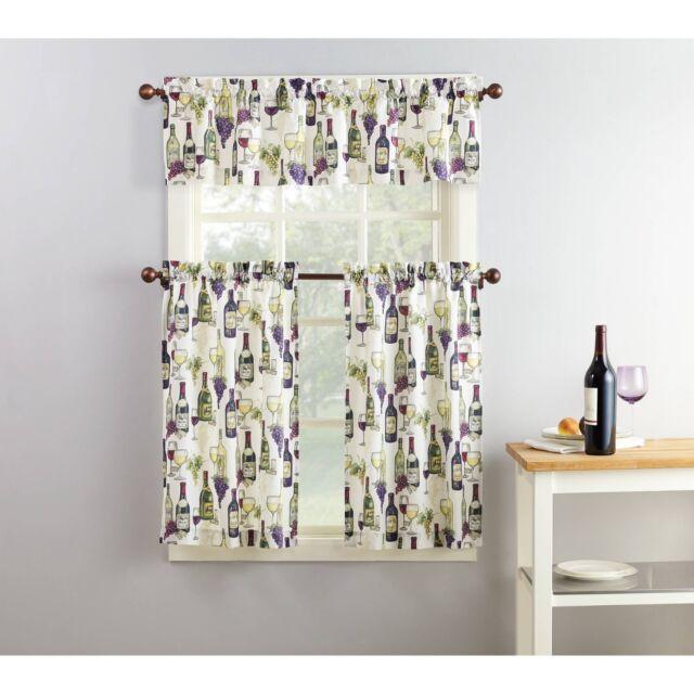 Purple Green Beige Wine Grapes Cafe Kitchen Curtains Set Tiers Valance  Window
