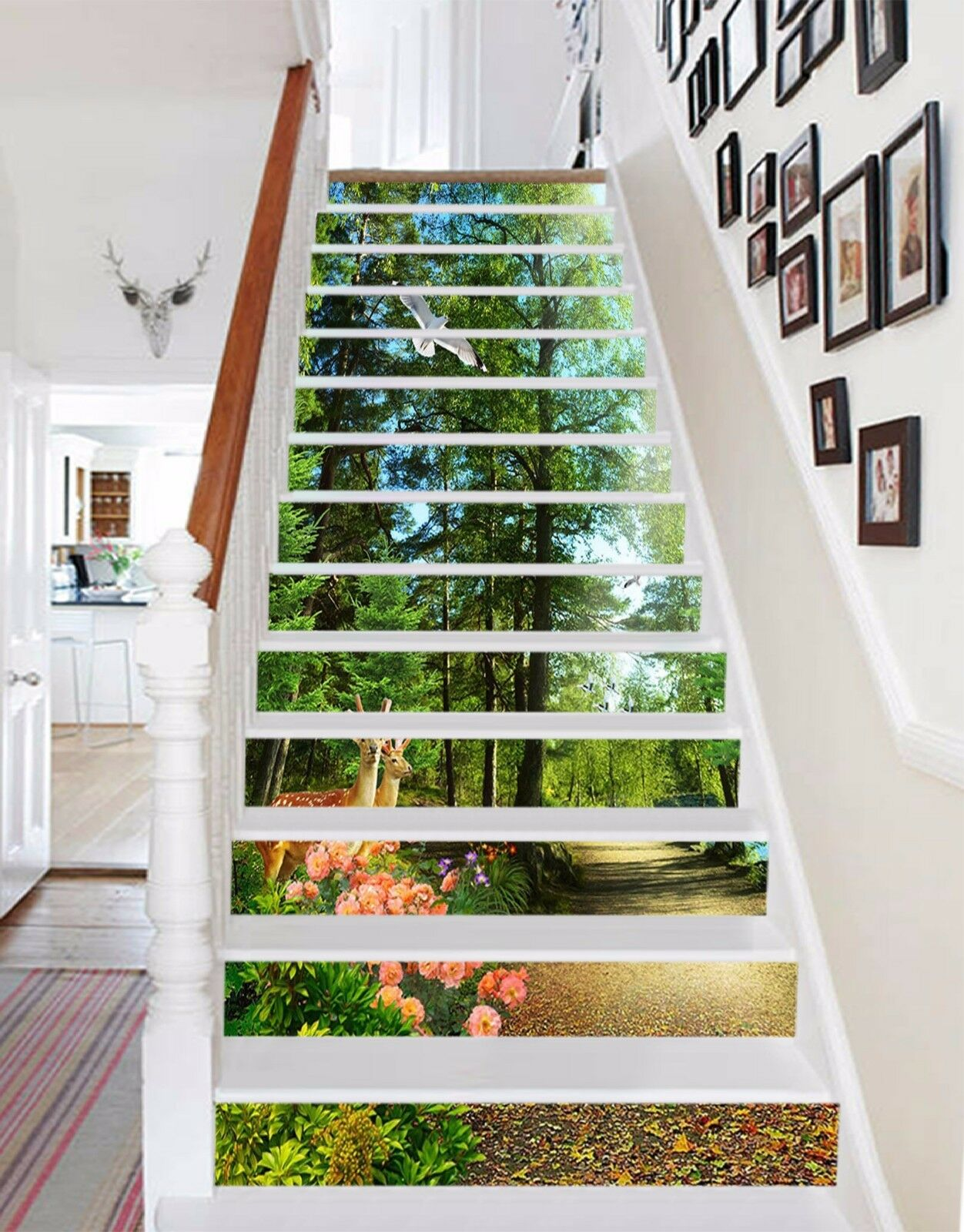 3D Forest Deer 822 Stair Risers Decoration Photo Mural Vinyl Decal Wallpaper AU