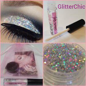 Fine-Holographic-Silver-Glitter-Eyes-Eyeshadow-Large-10g-pot-Fix-Gel-Applicator