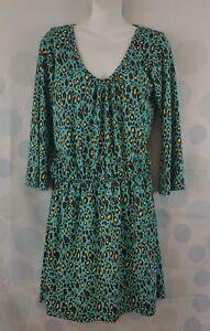 Mud-Pie-Women-039-s-Large-Leopard-Print-Mod-Lagoon-Stretch-Waist-Rockabilly-Dress