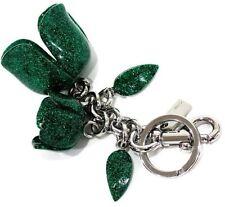 Coach 58514 Glitter Resin Tea Rose Bag Charm Key Ring Fob Leaf Green Jewlery