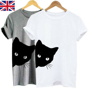Womens-Short-Sleeve-Scoop-Neck-Cat-Print-Casual-Loose-Tops-Blouse-T-shirt-Tee-UK