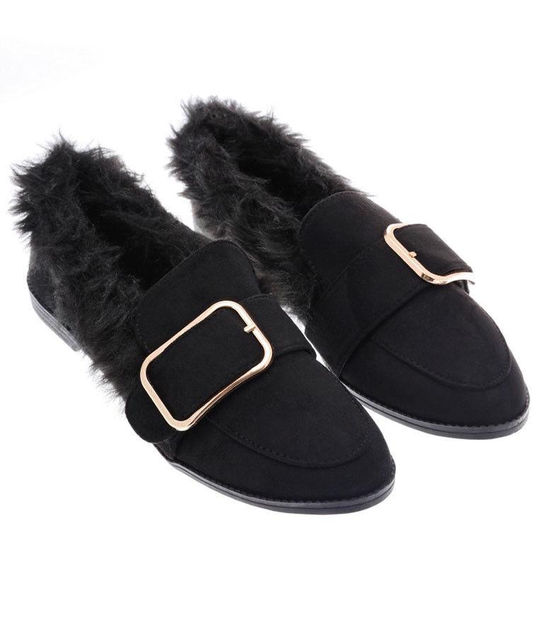 S47 Hebilla - Mujer Negro mullido Mocasines Planos DELANTERO Detalle Hebilla S47  Zapatos  - e0b11a