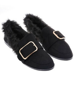 S47 - Ladies Black Fluffy Flat Loafers Front Buckle Detail Shoes - UK 3-8