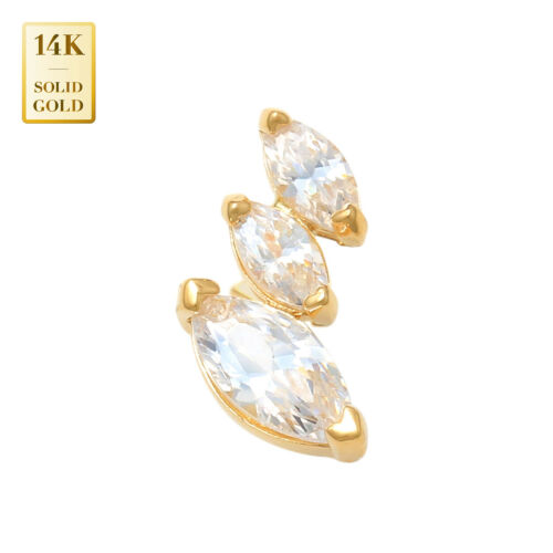 14K REAL Solid Gold Three Stone CZ Helix Cartilage Earring Tragus Stud Ring 18G