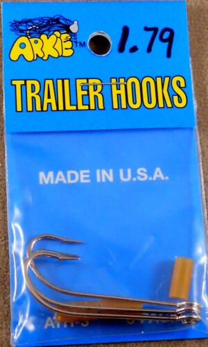 Fishing Hook 1 Pack of 3 Arkie Trailer Hooks Size # 1//0  ATH-3