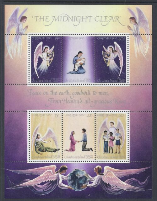 1980 CHRISTMAS ISLAND CHRISTMAS MINI SHEET FINE MINT MUH/MNH MIDNIGHT CLEAR