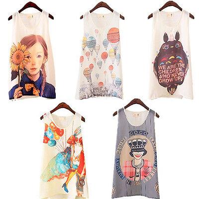 Sweet Women Printed Chiffon Sleeveless T-Shirt Casual Cami Tank Vest Tops Blouse