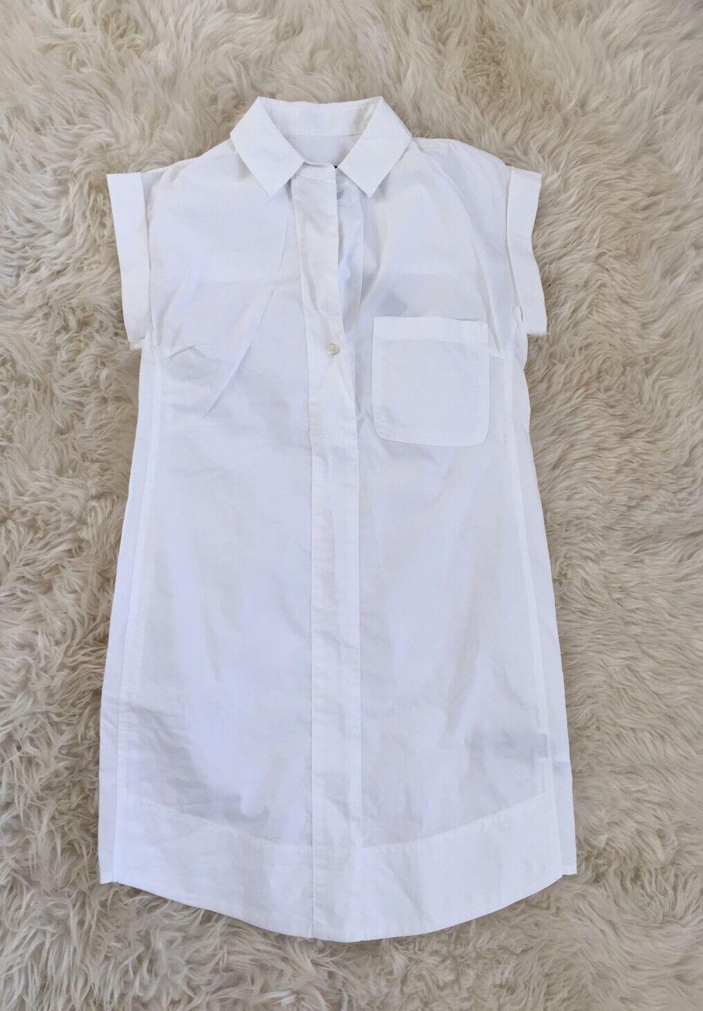 J CREW Short-Sleeve Cotton Shirtdress Sz PXXS Weiß C7214