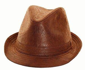 Leather Look Hat Trilby Pork Pie Fedora Gangster MOD PVC Black Ladies Mens Boys