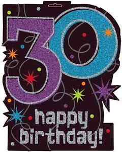 Image Is Loading 5 Pack Amscan Glitter HAPPY 30th BIRTHDAY 30