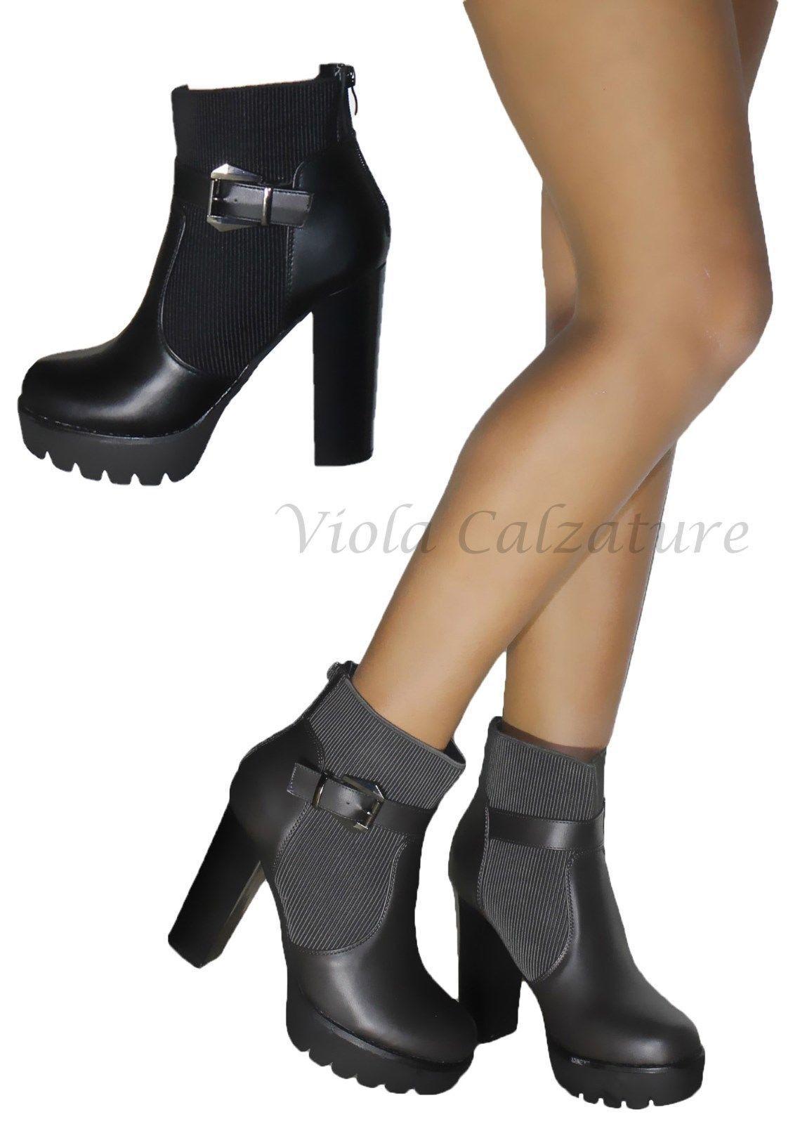 Stivaletti women Stivali shoes Tronchetti fibbia eco pelle Plateau Art68-6