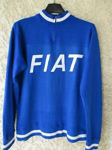 Maillot-Sweat-cycliste-FIAT-maglia-vintage-annees-70-cycling-shirt-jersey-S