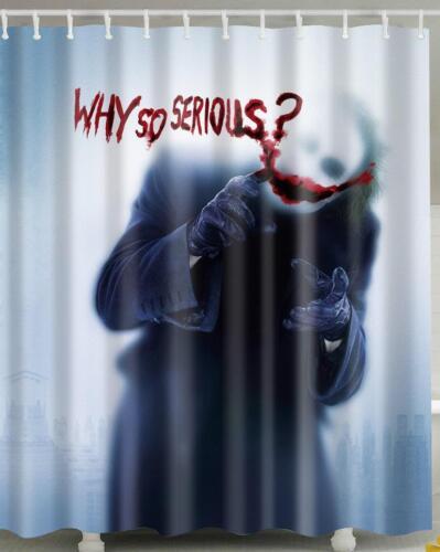 Grim Skeleton Wearing Coat Worded Why So Serious Bathroom Shower Curtain