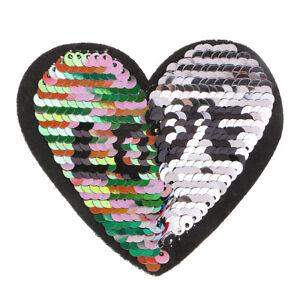 Sew on Heart Sequins Patch Love Tower Paillette Applique Reversible Color