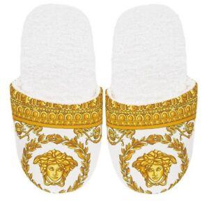 fab3961e3 Versace Baroque Medusa Bath Slippers 1 Pair - Size S - White Gold | eBay