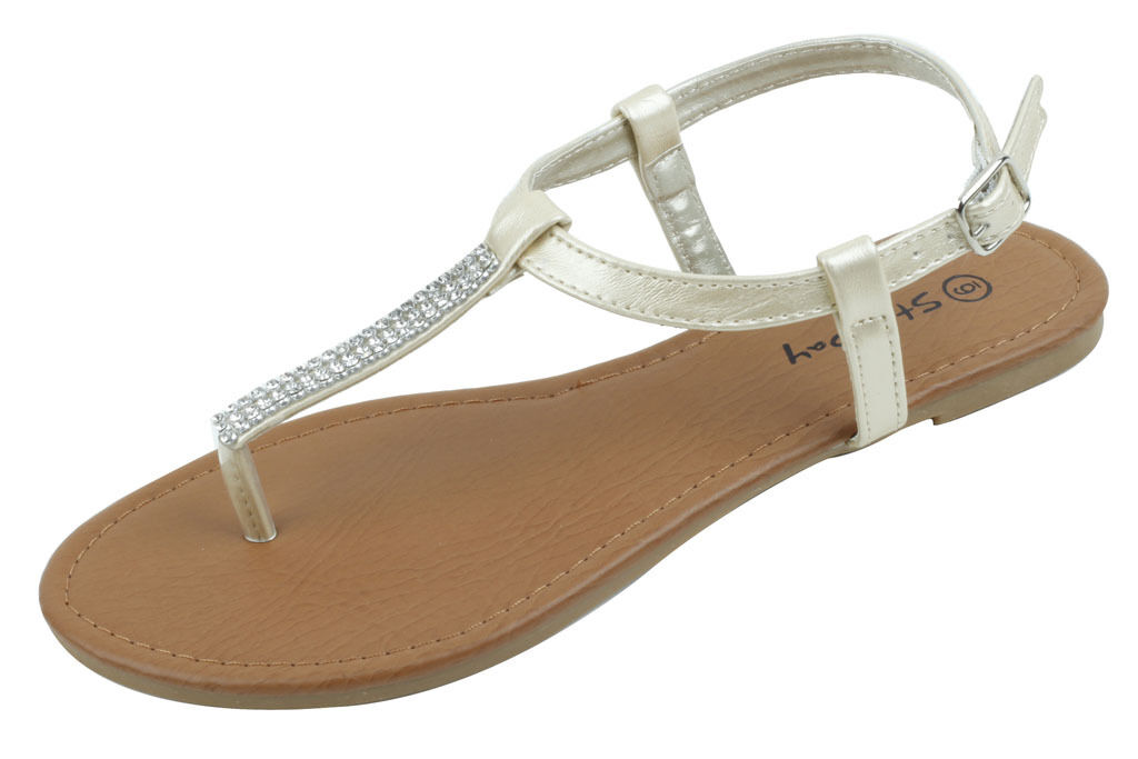 AZAM  Womens Slingback T-Strap Sandals Rhinestone Summer Fashion Flat Sandals T-Strap Gold bbb2eb