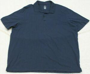 George Blue Polo Shirt Short Sleeve Cotton Mens Mans 3XL 54-56 Black Top XXXL