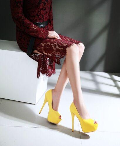 Giallo Plateau Stiletto 13 Eleganti 9299 Scarpe Spillo 5 Donna Tacco Decolte wUaxqSH