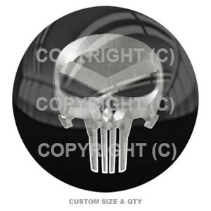 Premium Glossy Round 3D Epoxy Domed Decal Indoor /& Outdoor Orange Punisher Skull