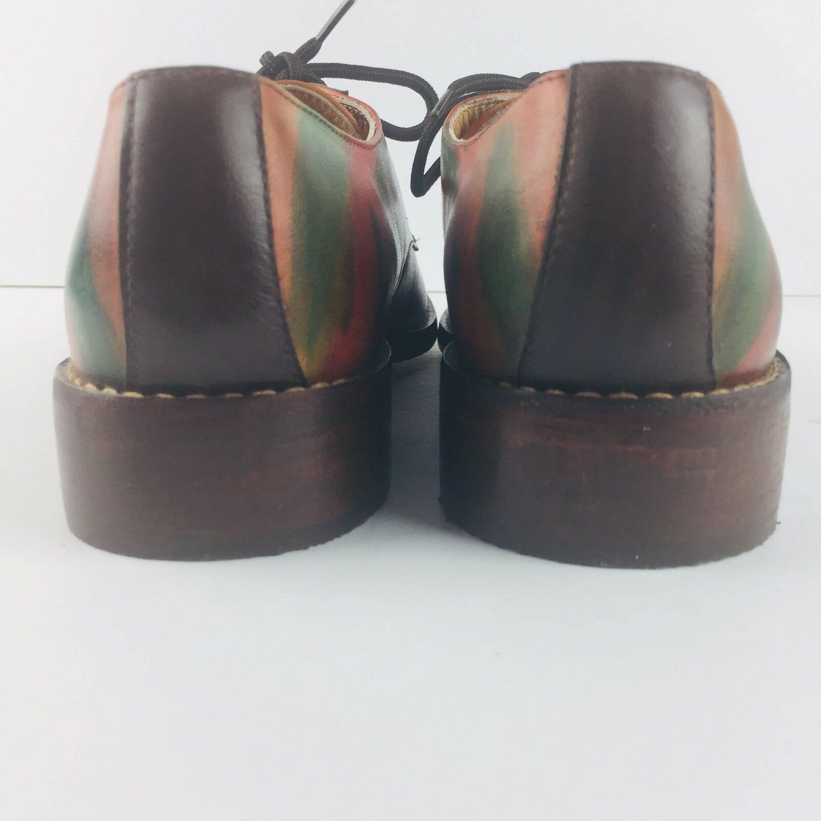 E Oxford Uomo Derby Uomo Oxford 39 Eur Pelle Wooden Heels Multi Color Rainbow 939d4b