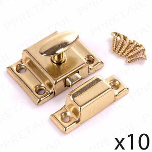 10 x CUPBOARD TURN LATCH DOOR LOCK Brass Desk/Cabinet/Chest Drawers Twist Catch 5056011463513