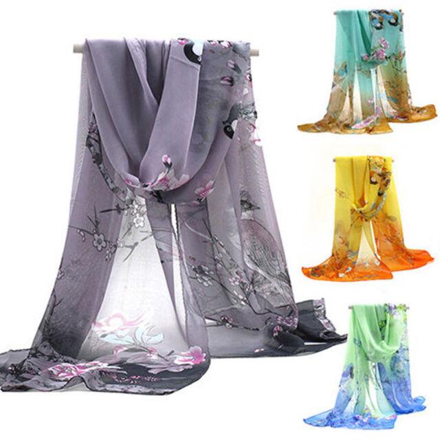 UP Fashion Women's Printed Flower Soft Silk Chiffon Neck Scarf Wrap Shawl Stole