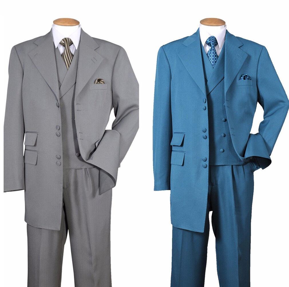 Men's 3 Double Button Fashion Suit w  Double Breasted Vest 3pc Set 2917V