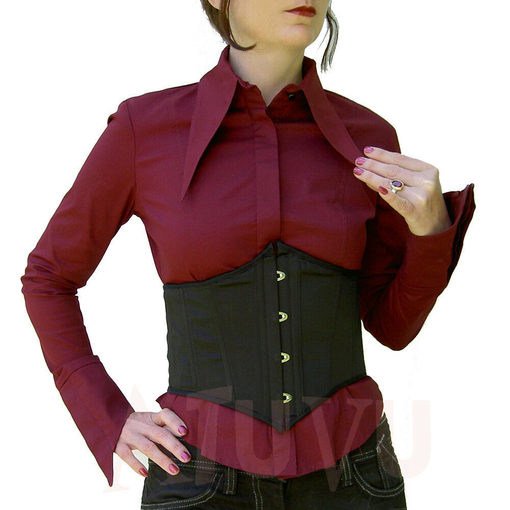 Goth Shirt Burgundy Cotton Pointed Collar Blouse Lip Service Made in USA L
